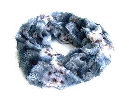 Dames pluche sjaal / loop kolsjaal imitatiebont - panter / grijs