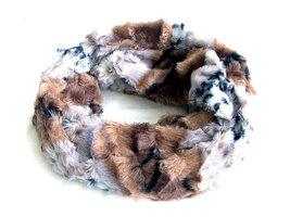 Dames pluche sjaal / loop kolsjaal imitatiebont - panter / lichtbruin