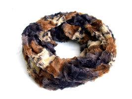 Dames pluche sjaal / loop kolsjaal imitatiebont - panter / bruin