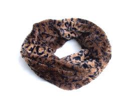 Dames pluche sjaal / loop kolsjaal imitatiebont - panterprint / bruin