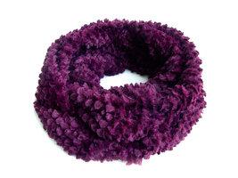Dames pluche sjaal / loop kolsjaal imitatiebont - aubergine