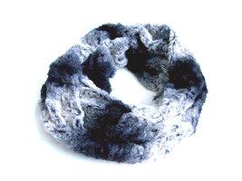 Dames pluche sjaal / loop kolsjaal imitatiebont - grijs / zwart