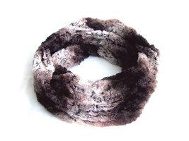 Dames pluche sjaal / loop kolsjaal imitatiebont - bruin / wit