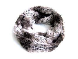 Dames pluche sjaal / loop kolsjaal imitatiebont - kaki / wit