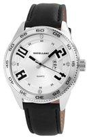 Excellanc XXL horloge met lederen band - zwart / zilver