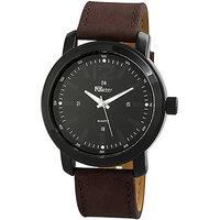Raptor XXL horloge met lederen band - bruin / zwart