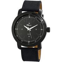 Raptor XXL horloge met lederen band - zwart / donkerblauw