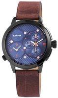 Raptor dualtime horloge met lederen band - bruin / blauw