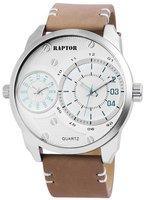 Raptor dualtime XXL horloge met lederen band - coffee / zilver