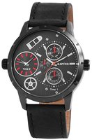 Raptor dualtime XXL horloge met lederen band - zwart / rood