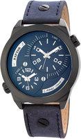 Raptor dualtime XXL horloge met lederen band - blauw