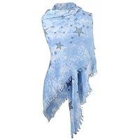 Dames driehoek sjaal / poncho met sterren - blauw