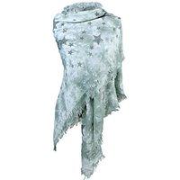 Dames driehoek sjaal / poncho met sterren - groen