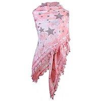 Dames driehoek sjaal / poncho met sterren - roze