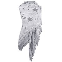 Dames driehoek sjaal / poncho met sterren - grijs