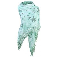 Dames driehoek sjaal / poncho met sterren - mint