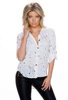 Dames blouse met verfspatten / paint spots - wit