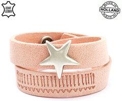 Dames armband echt leder met ster (handmade in Holland) - zalm