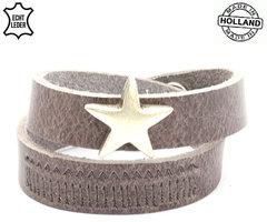 Dames armband echt leder met ster (handmade in Holland) - bruin