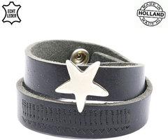 Dames armband echt leder met ster (handmade in Holland) - zwart
