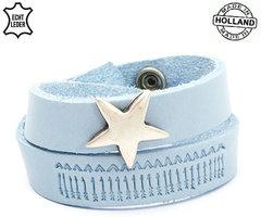 Dames armband echt leder met ster (handmade in Holland) - blauw