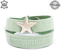 Dames armband echt leder met ster (handmade in Holland) - groen