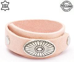 Dames armband echt leder (handmade in Holland) - zalm