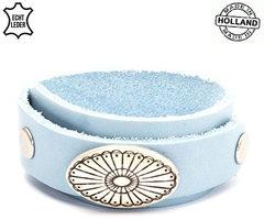 Dames armband echt leder (handmade in Holland) - blauw