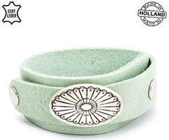 Dames armband echt leder (handmade in Holland) - groen