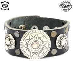 Brede armband echt leder (handmade in Holland) - zwart