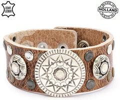 Brede armband echt leder (handmade in Holland) - bruin