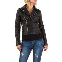 Dames biker jas / leatherlook jack - zwart