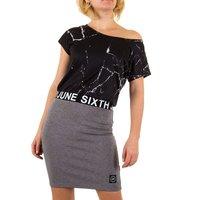 Dames jurk marmer / marble dress - zwart / grijs