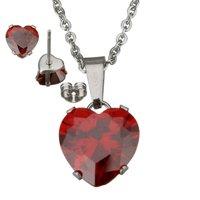 Set ketting & oorbellen edelstaal - hart / rood