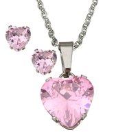 Set ketting & oorbellen edelstaal - hart / roze