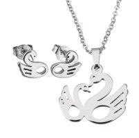 Set ketting & oorbellen edelstaal - zwaan / zilver