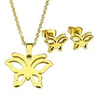Set ketting & oorbellen edelstaal - vlinder / goud