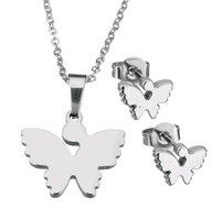 Set ketting & oorbellen edelstaal - vlinder / zilver