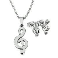 Set ketting & oorbellen edelstaal - G-sleutel muziek / zilver