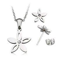 Set ketting & oorbellen edelstaal - bloem / zilver