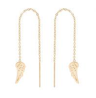 Oorhangers chain / oorbellen met ketting vleugel - edelstaal gold plated