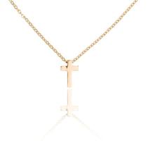 Ketting met hanger kruis - edelstaal gold plated