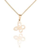 Ketting met hanger vlinder - edelstaal gold plated