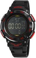 Akzent digitaal horloge met rubberen band - zwart / rood