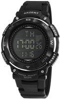 Akzent digitaal horloge met rubberen band - zwart / zilver