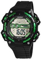 Akzent digitaal horloge met rubberen band - zwart / groen