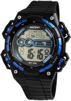 Akzent digitaal horloge met rubberen band - zwart / blauw