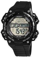 Akzent digitaal horloge met rubberen band - zwart / grijs
