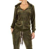 Dames velvet huispak / velours joggingpak - legergroen
