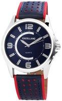 Excellanc XXL herenhorloge met lederen band - rood / donkerblauw